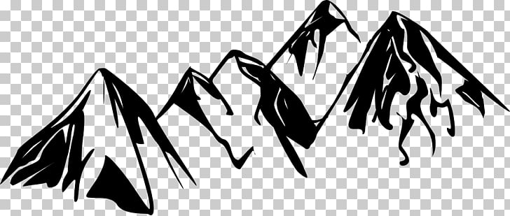 Black and white , mountain sketch PNG clipart.