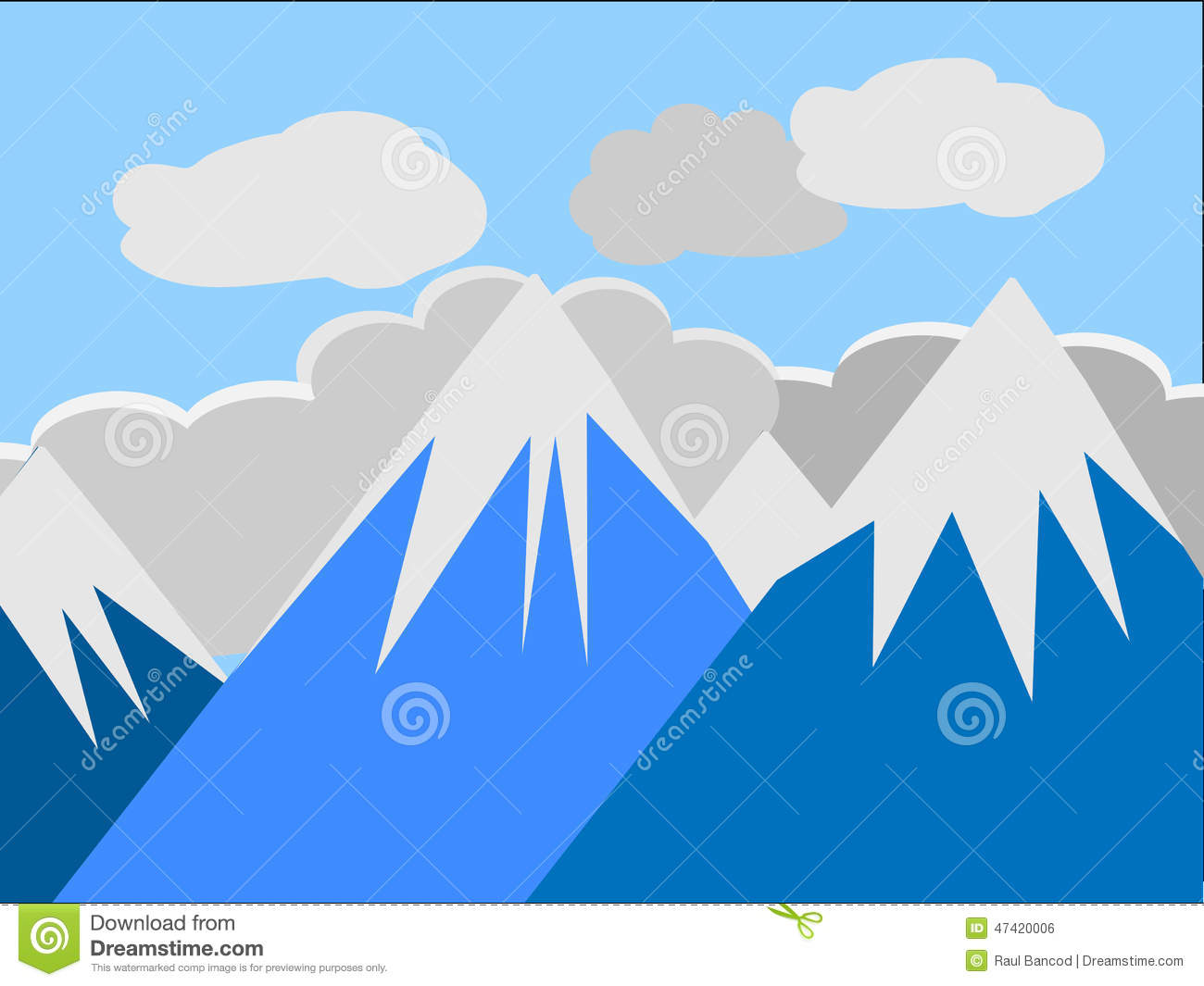Mountain Peaks Stock Illustration.
