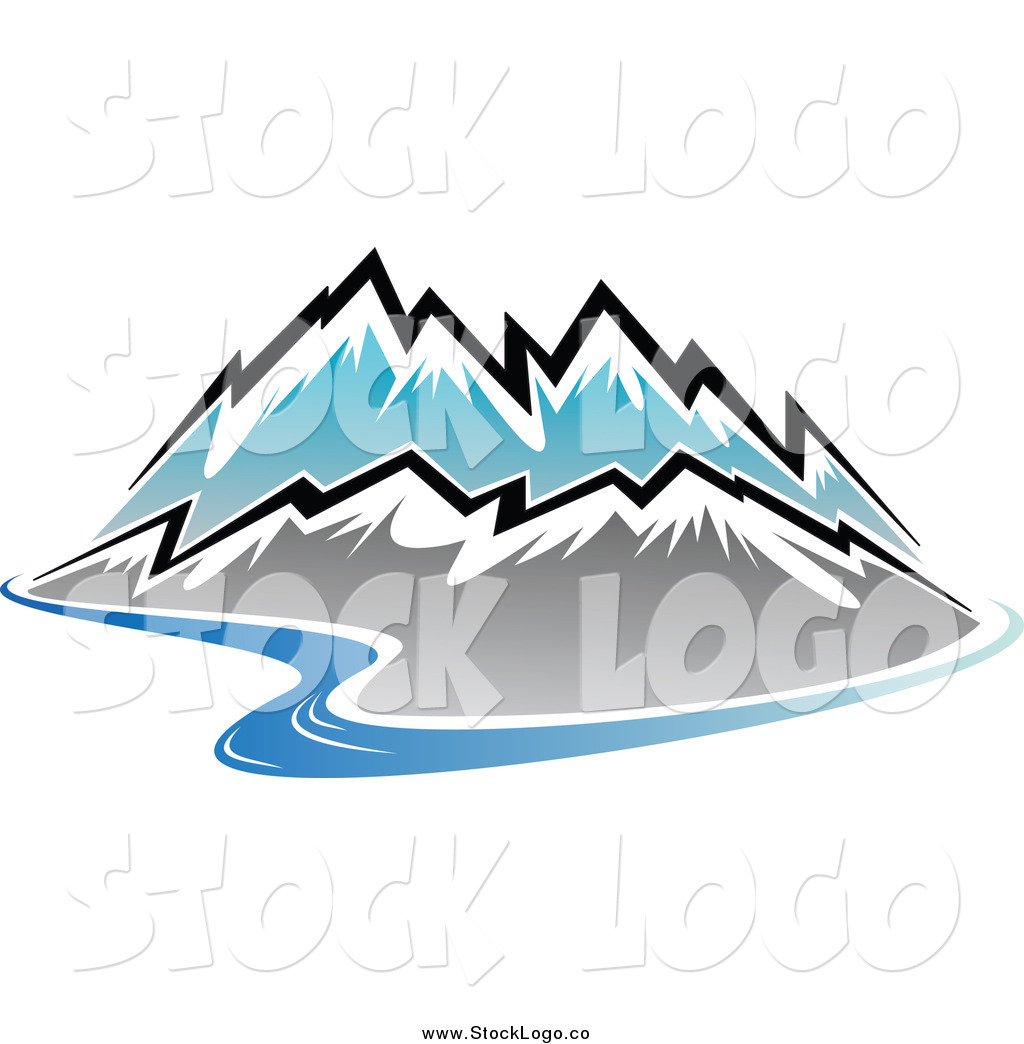 Vector Clipart of a Winding River and Snow Capped Mountain Range.
