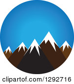 Clipart of a Flat Styled Arched Scene of Snow Capped Mountains and.