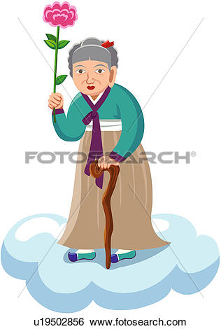 Clip Art of mountain grandmother, goddess governing childbirth.