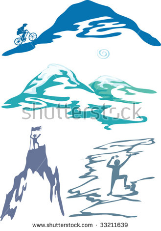 Vector Illustration Of Mountain Sports And Activity.