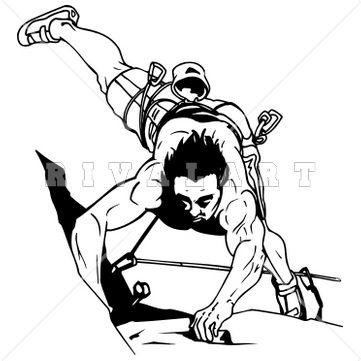 Sports Clipart Image of Black White Rock Climber Mountain Climbing.