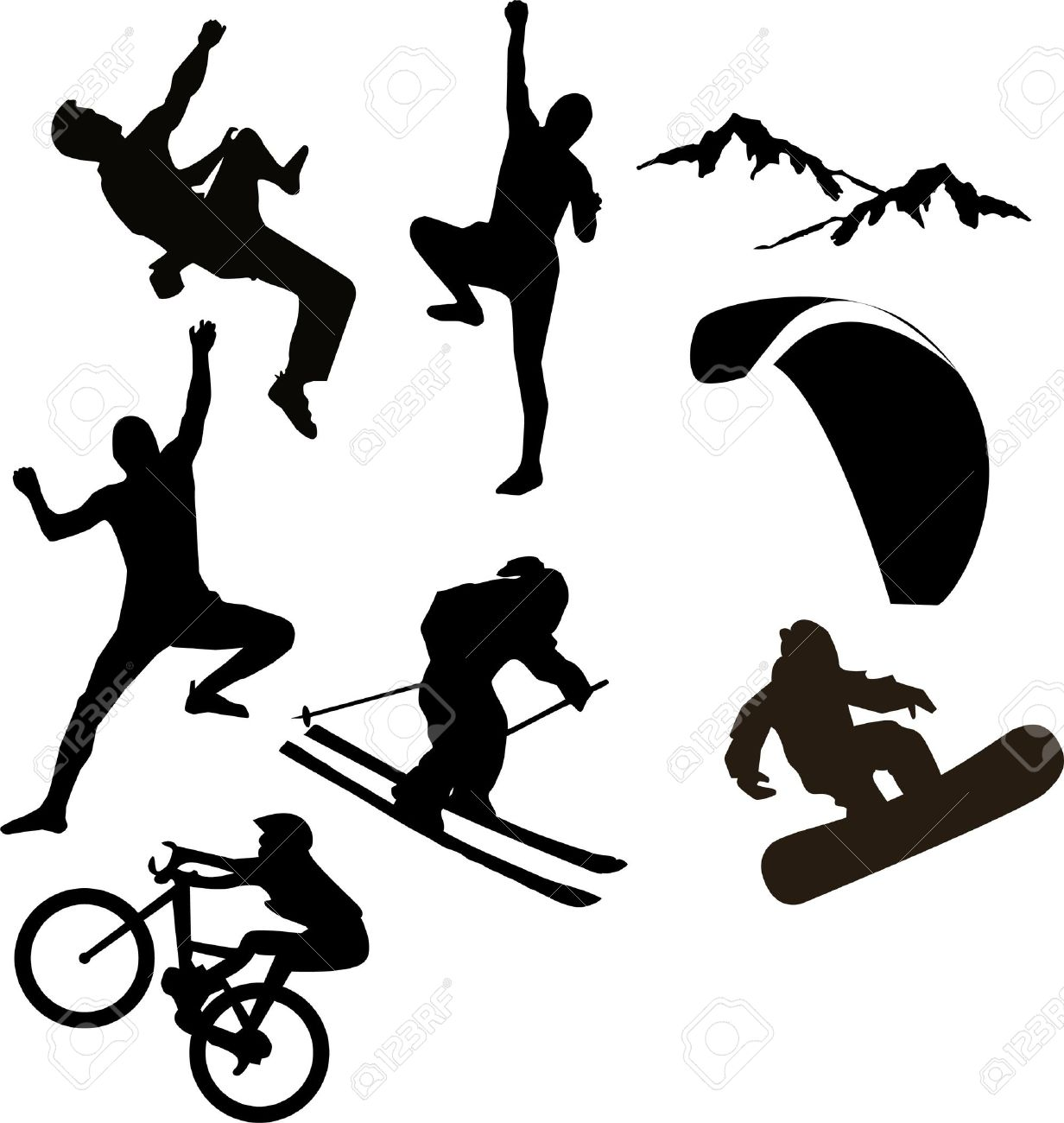 Various Vector Icons Of Mountain Sports Stock Photo, Picture And.