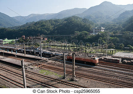 Stock Images of Taiwan TRA train in mountain station csp25965055.