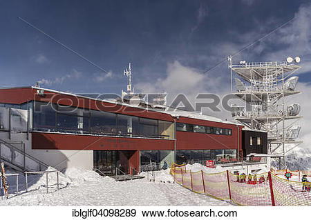 Stock Photograph of Venetbahn, cable car, mountain station with.