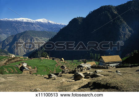 Stock Photo of Nepal, Dailekh district, mountain village x11100513.