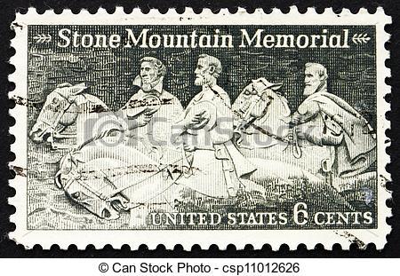 Stock Photo of Postage stamp USA 1970 Stone Mountain Memorial.