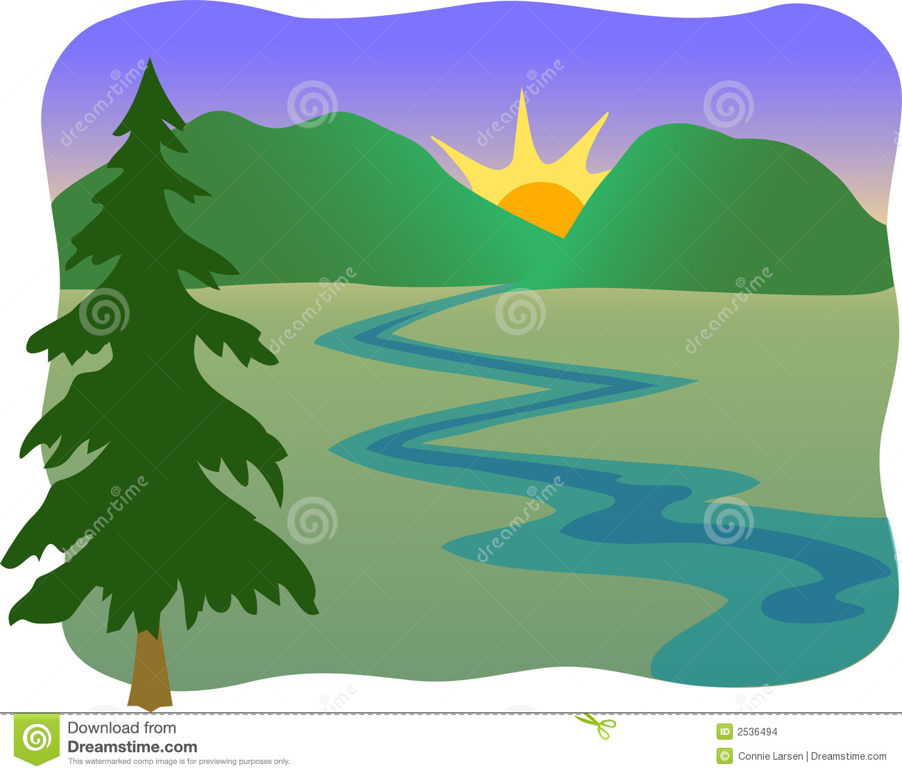 Mountain stream clipart.