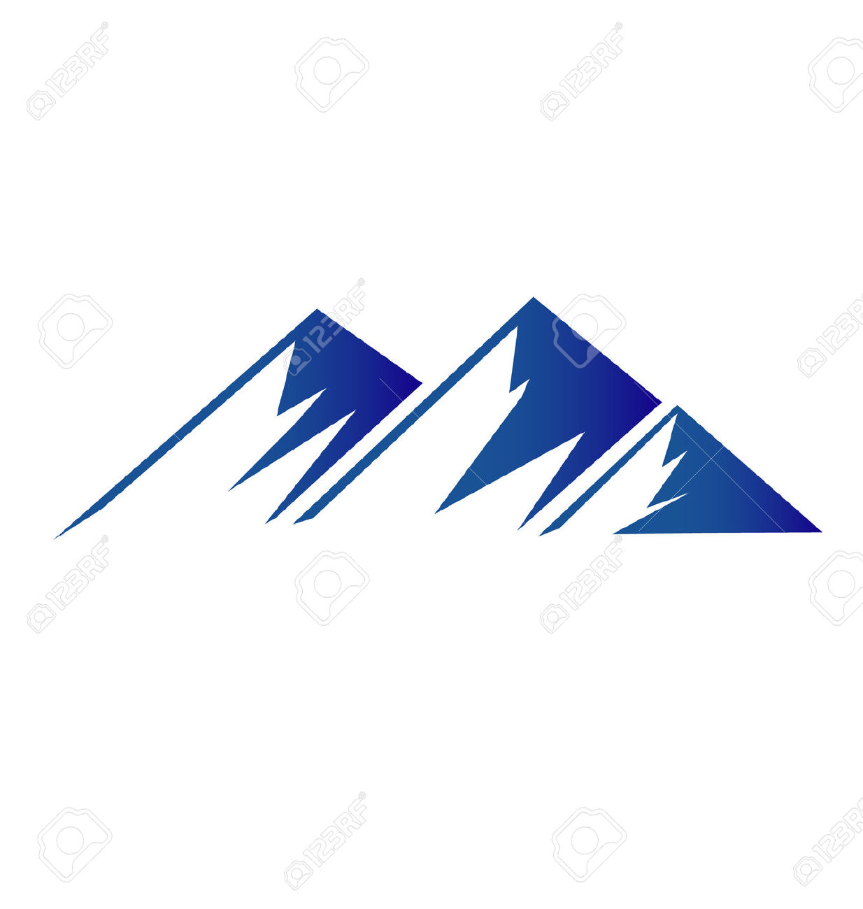 Mountain peaks clipart outline.