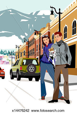 Clip Art of Young couple carrying dog, walking in snow in mountain.