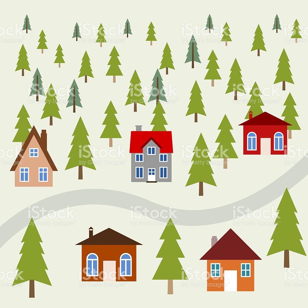 Mountain Town stock vector art 623486192.