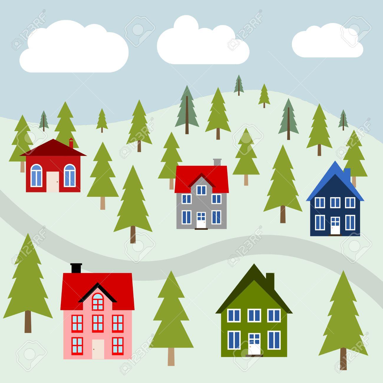 Mountain Town Illustration.