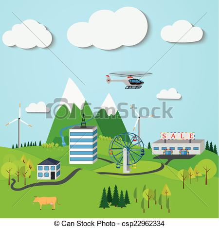 Vectors of Mountain landscape with the town, windmills, trees.