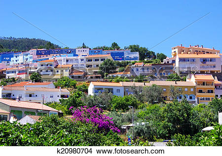 Stock Photo of mountain town Monchique in the Algarve, Portugal.