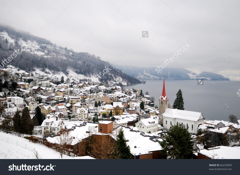 Winter View Small Town Mountain Lake Stock Photo 66229099.