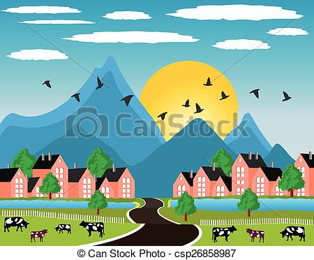 Vector of Rural landscape with small town in mountain.