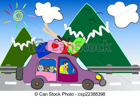 EPS Vectors of cartoon family trip to the mountains vector.
