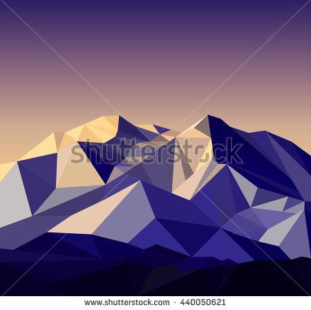 Night Sahara Scenic Mountain Landscape Vector Stock Vector.