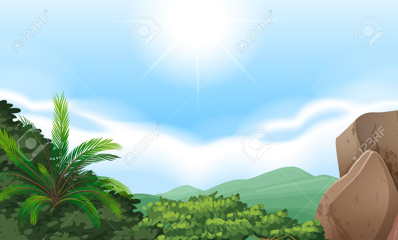 Mountain View Scenery With Clear Sky Royalty Free Cliparts.