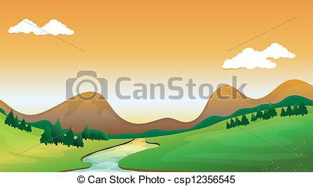 EPS Vector of A mountain view.