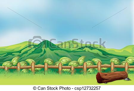 Clipart Vector of A mountain view across a wooden fence.