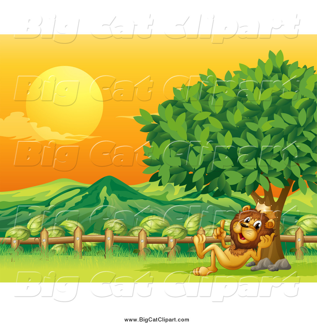 Big Cat Cartoon Vector Clipart of a King Lion Resting Against a.