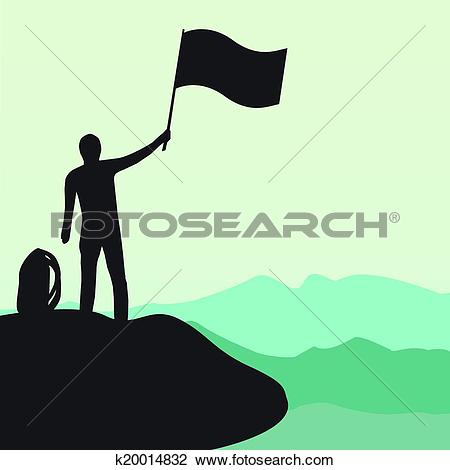 Clipart of Silhouette of man with flag on top the high mountain.
