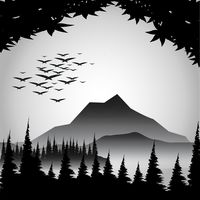 Silhouette of river and mountain view Vector Image.