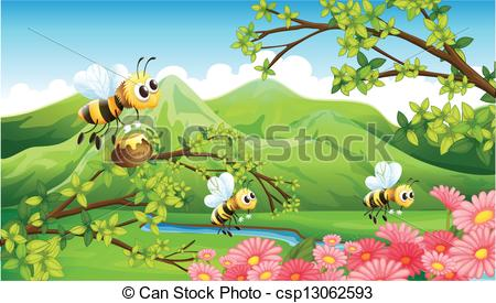 EPS Vectors of A view of the mountain with flowers and bees.
