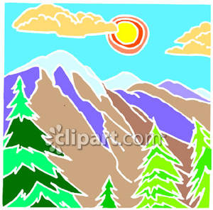 View of Mountain Ranges and Tall Trees Royalty Free Clipart Picture.