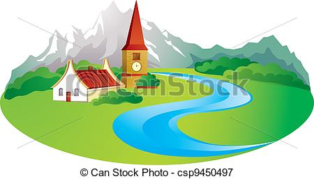 Vectors Illustration of Rural background in the mountain.