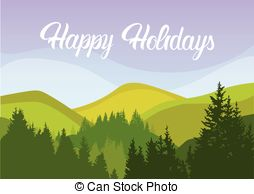 Panorama mountain village Vector Clip Art Royalty Free. 116.