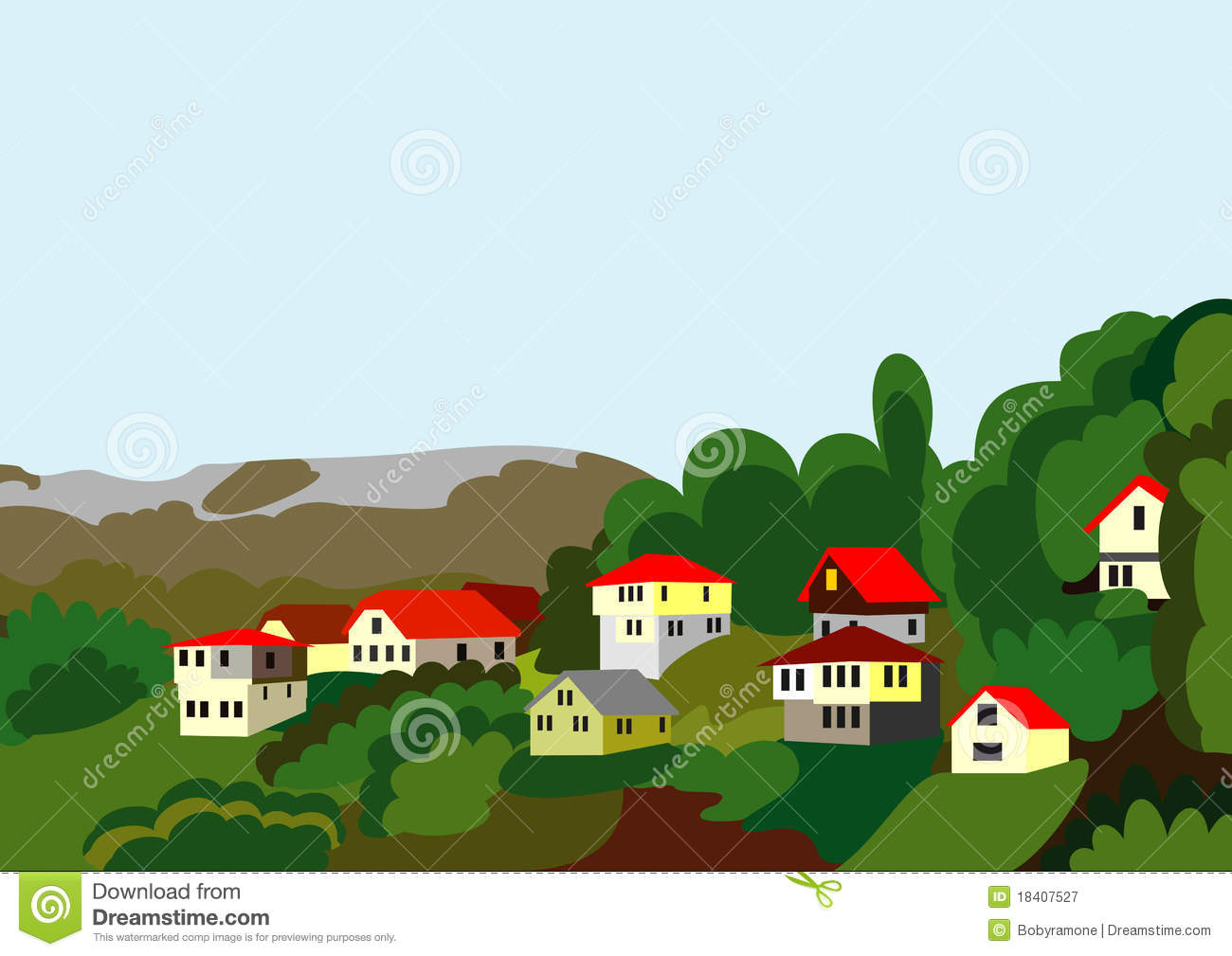 Village Houses Mountain And Forest Royalty Free Stock Photography.