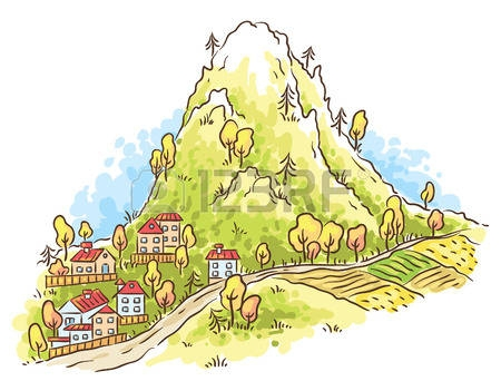 Mountain Village Clipart.