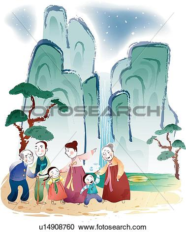 Stock Illustrations of person, Night sky, mountains, mountain.