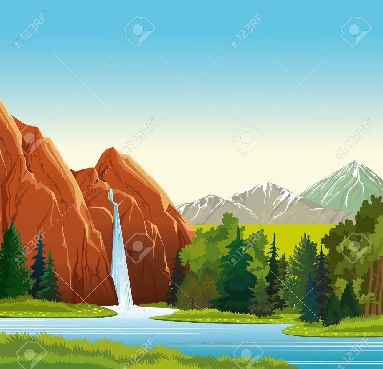Mountain Waterfall Clipart.
