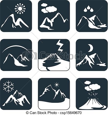 Vectors Illustration of Mountain weather set.