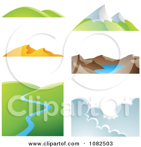 Clipart of Snow Capped Mountain Peaks.