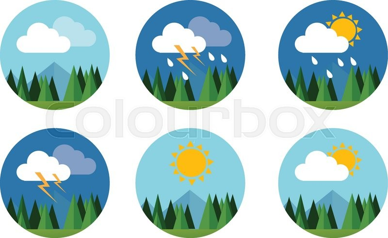 Weather icon set flat vector forecast sky cloud sunny thunder with.