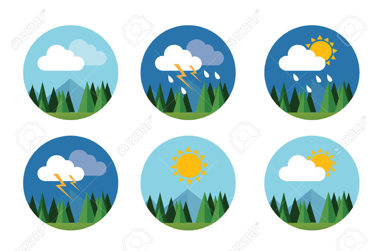 Weather Icon Set Flat Vector Forecast Sky Cloud Sunny Thunder.