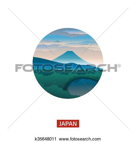 Clipart of Japanese landscape with mountain Fuji. Discover the.