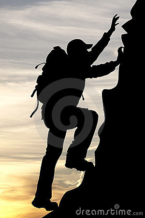 Silhouette Of A Traveler Tourist Mountaineer Royalty Free Stock.
