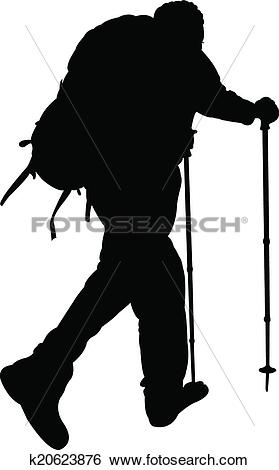 Clip Art of silhouette of a mountaineer k20623876.