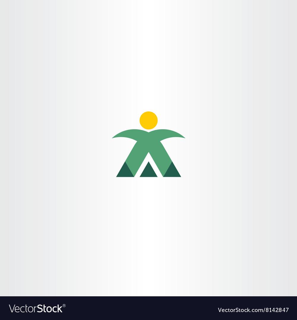 Mountain man mountaineer icon logo.
