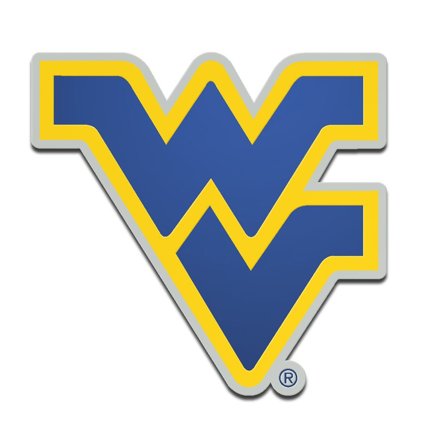 West Virginia Mountaineers Metallic Freeform Logo Auto Emblem.