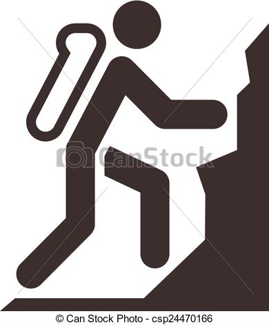 Clip Art Vector of mountaineering icon.