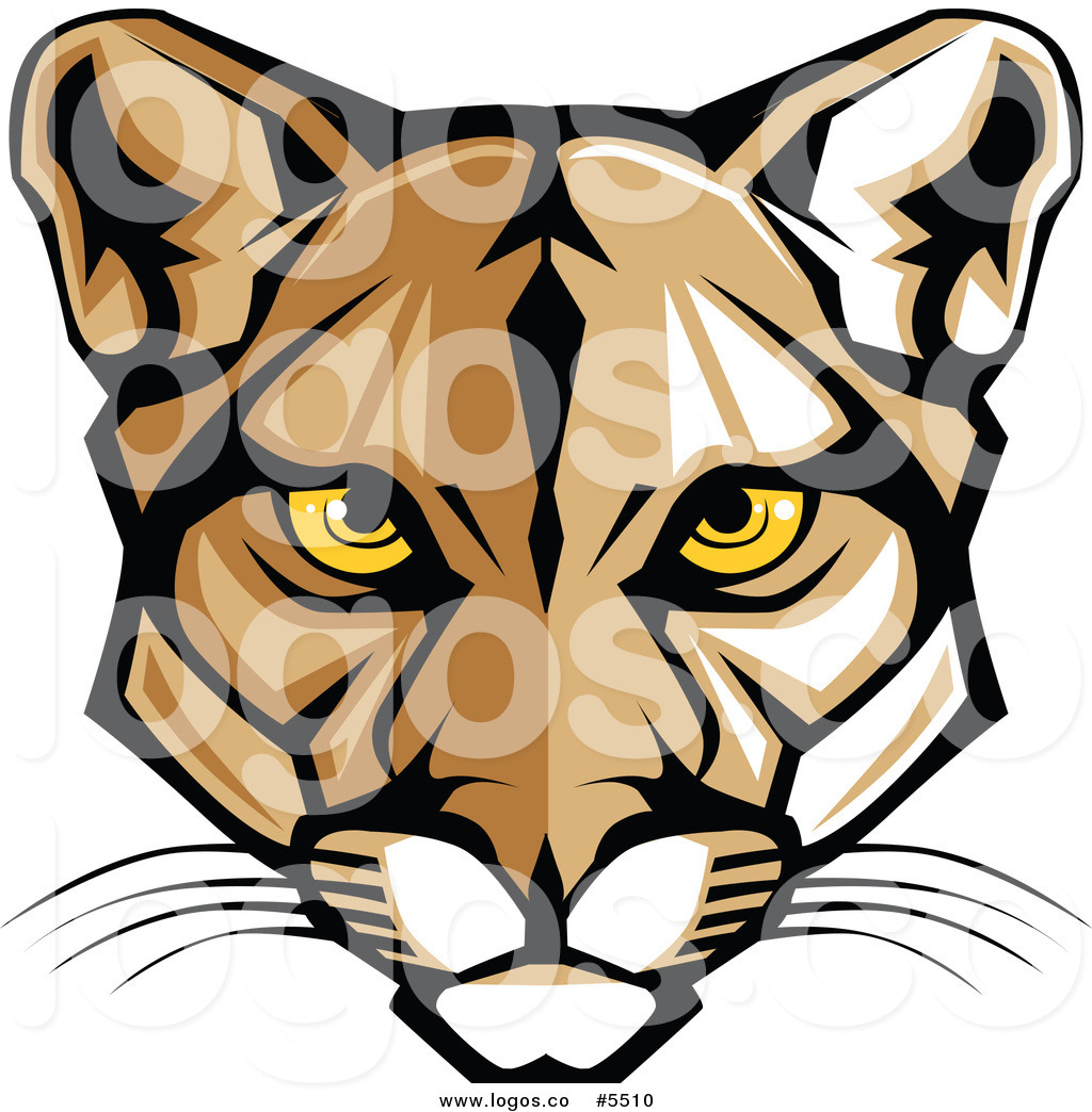 Mountain lion mascot clipart.