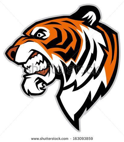 Tiger Head Line Drawing Tiger face clip art.