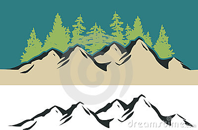 Clipart Mountains And Trees.